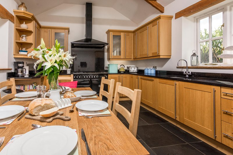 Large kitchen with luxury fittings and everything you need on holiday.