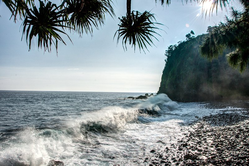 Below the cliffs of Ocean Soul is your own, private rocky beach.  Explore with care!
