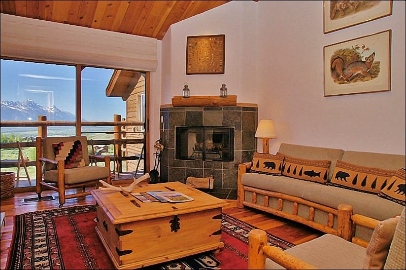 Upper Living Room - Teton Views, Vaulted Ceilings & Wood Fireplace.