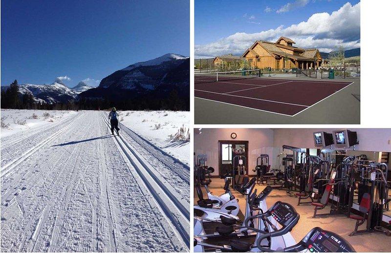 Esqui Cross Country no lado oeste do Tetons, campos de ténis, centro de fitness