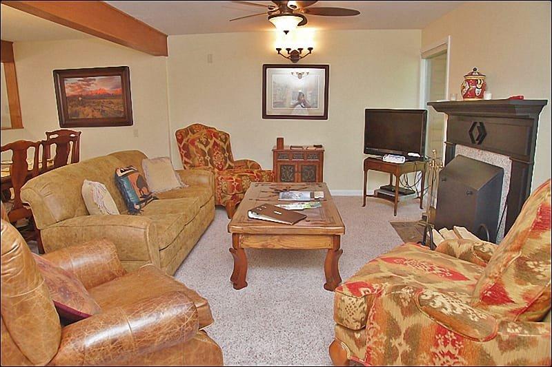 HDTV & Custom Stone Fireplace in the Living Room