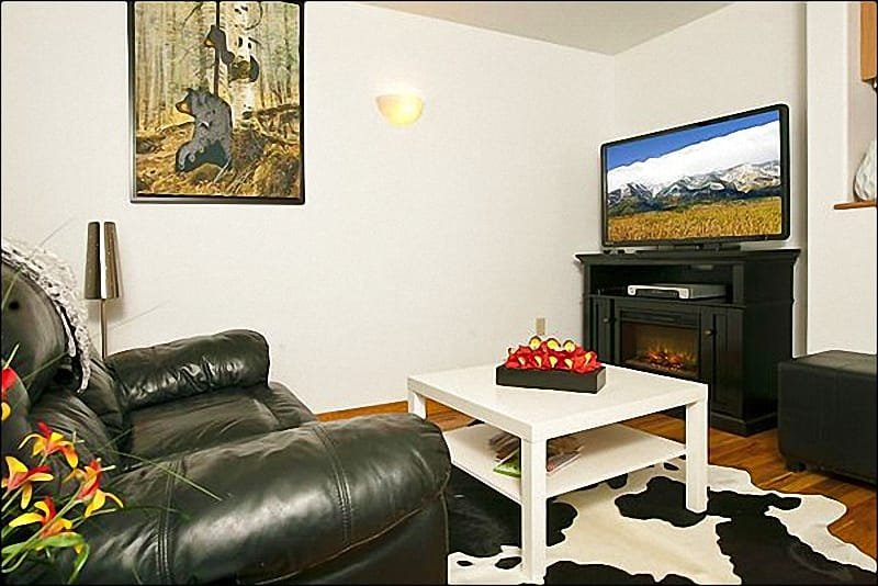 Living Room Boasts Western Decor and a Flat-Screen TV