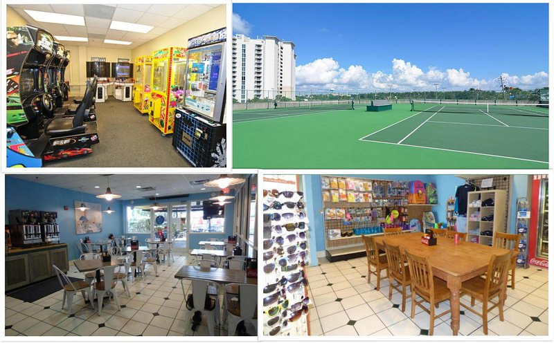 Spielzimmer, Tennisplätze, ein Café und Shop