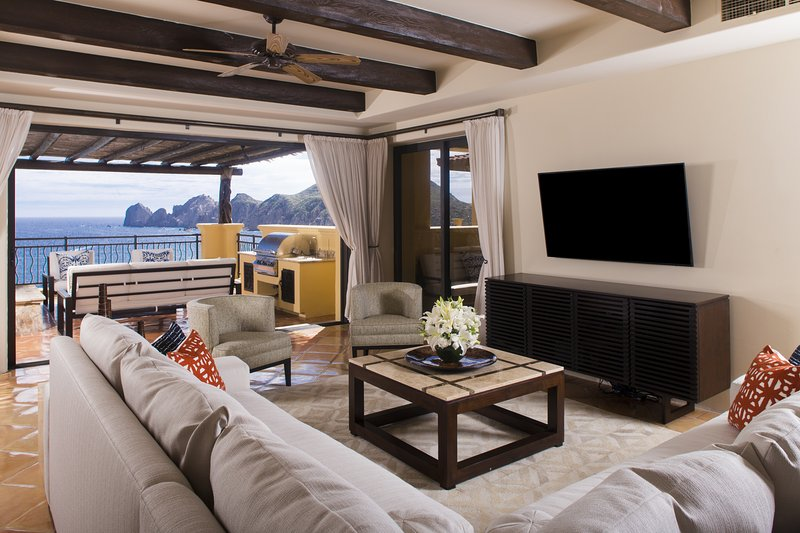 The Expansive Living Room Opens to the Magnificent Ocean Views and Large Terrace