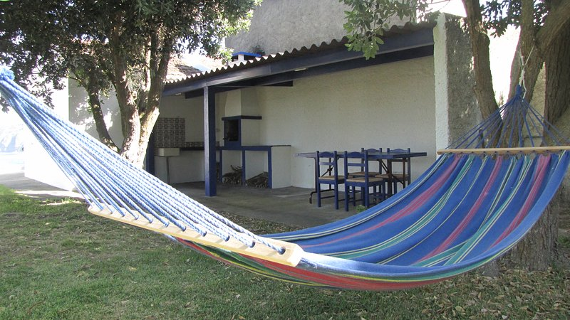 BBQ area and hammocks for outdoor living.