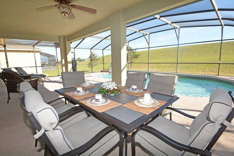 Terras tafel stoelen 6, plafondventilator w / light-