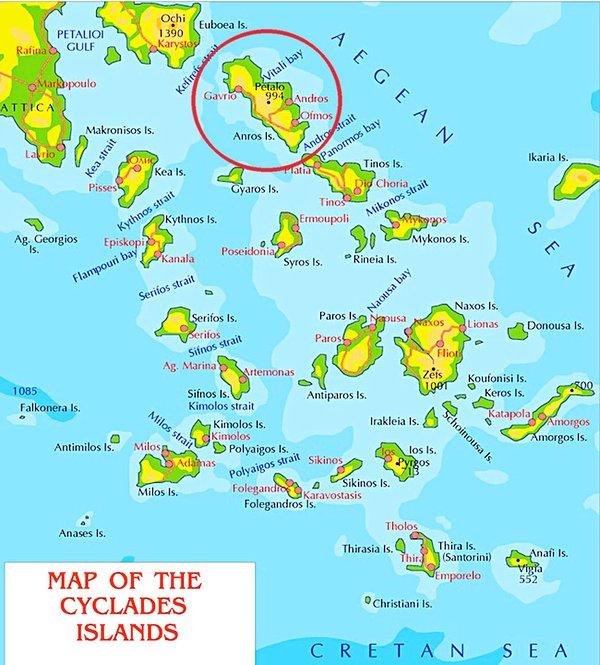 Un mapa de las islas Cícladas con la isla de Andros destacó, en el centro del mar Egeo.