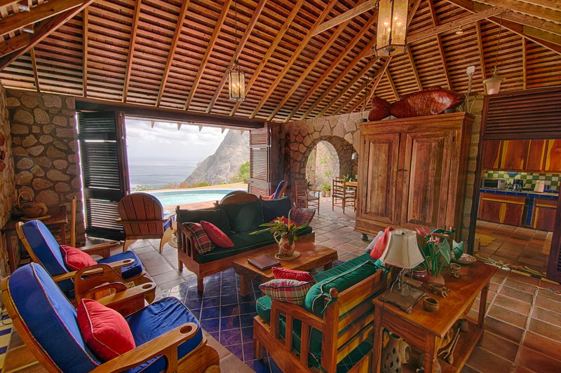 Villa Piton's living room has expansive views of BOTH the pitons and the blue Caribbean.