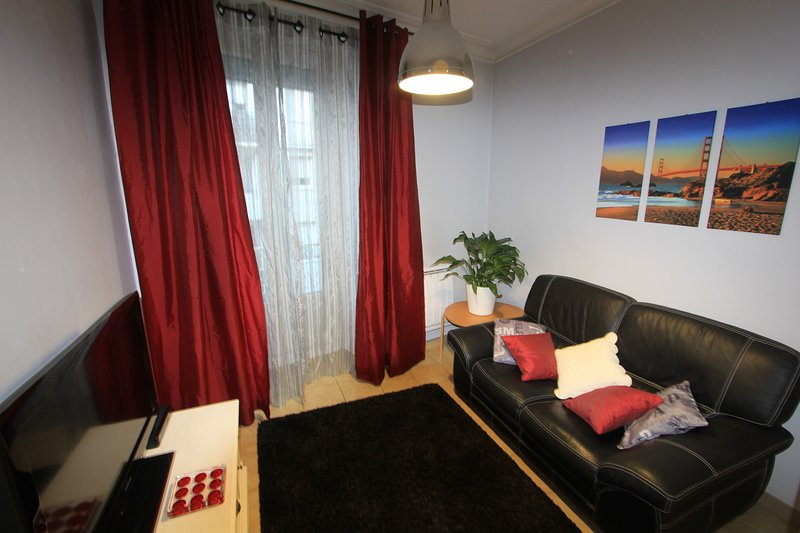 The living room with a 2 seater sofa, a blueray player and boxTV