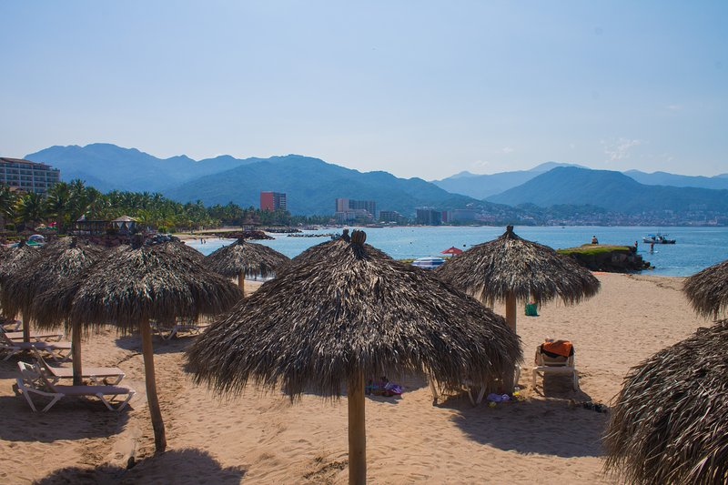 Palapas for some shade on white sandy beach, extra beach chairs and umbrellas in Condo for you