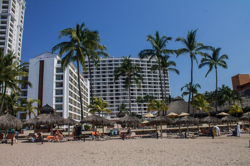looking from the beach towards our buildings