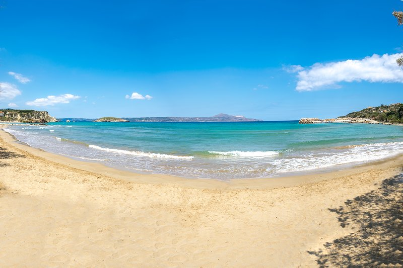 The famous organised sandy beach of Almirida