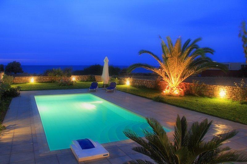 Beautiful shot of the swimming pool at night