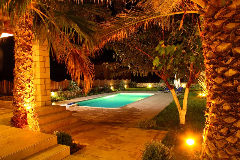 The swimming pool area by night
