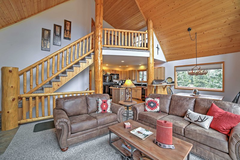 Comfy couches in the living area encourage you to kick back and relax!