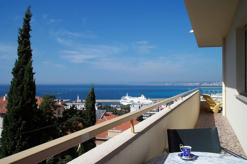 'Le Panoramic' terrace/balcony runs along 2 sides of the apartment . Magnificent views day and night