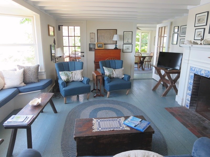 The living room has a small flat screen TV and a DVD player. The home has WiFi throughout - 30 Seabeach Road Chatham Cape Cod New England Vacation Rentals