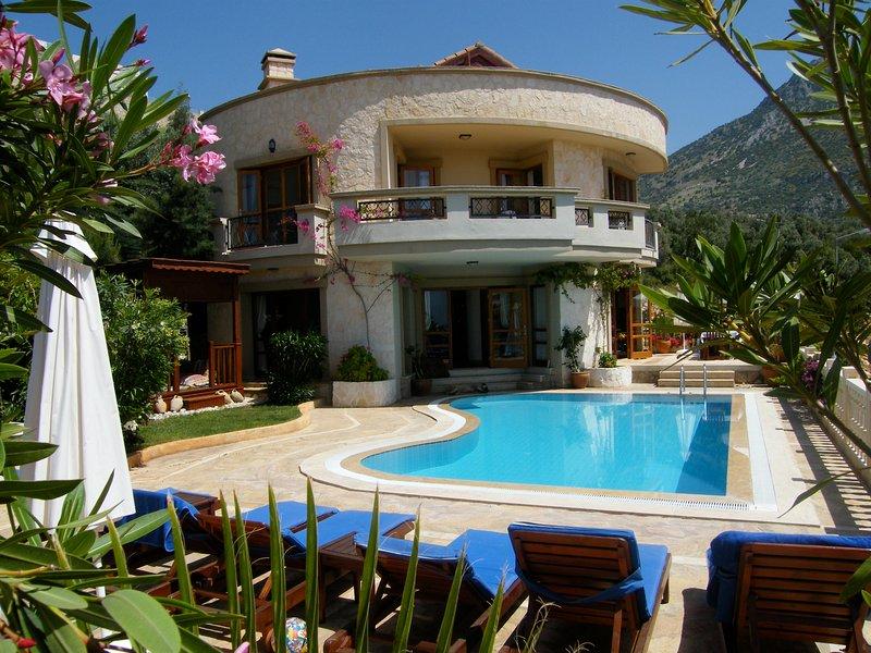 Villa pool area with 6 sunbeds