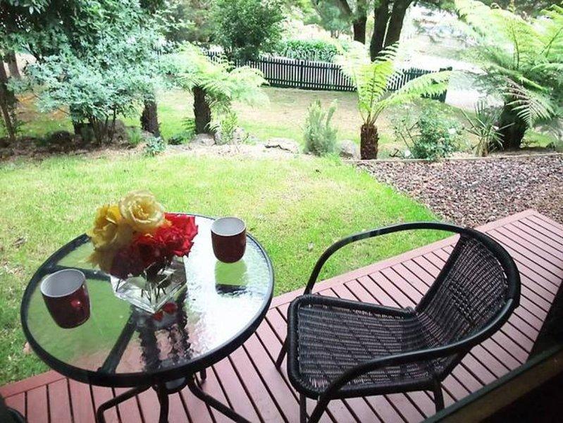 Une terrasse privée en dehors de la chambre principale a un aspect charmant de jardin.