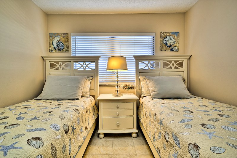 Brand-new twin beds with flatscreen TV