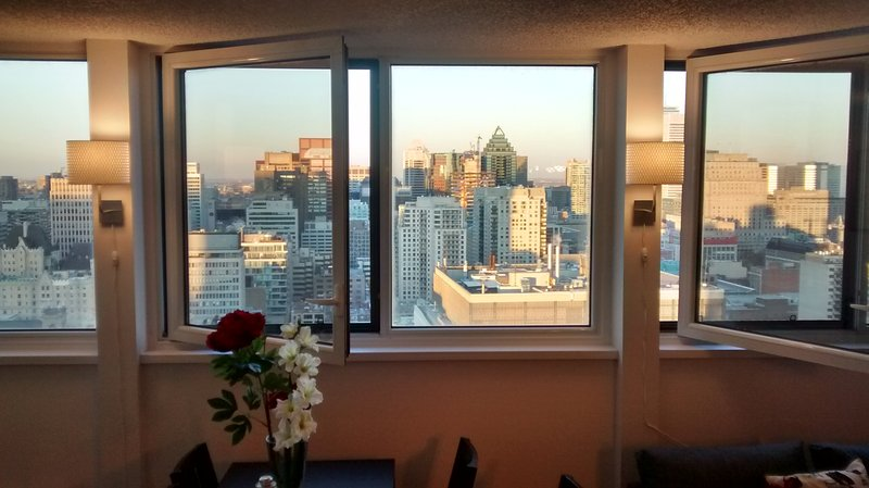 We are located right downtown and this is the the view looking East out over the whole city!