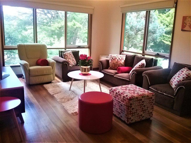 grandes fenêtres dans toutes les pièces principales donnent des tas de lumière naturelle dans toute la maison.
