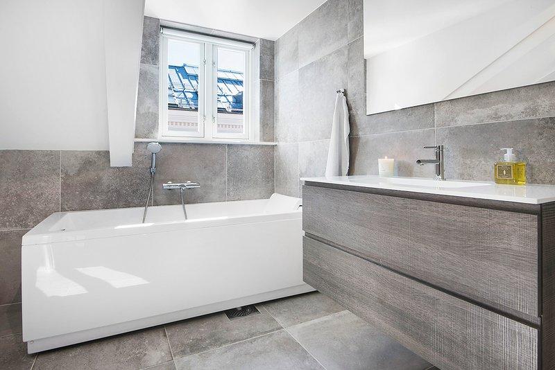 Modern spacious bathroom with both a shower and a bathtub