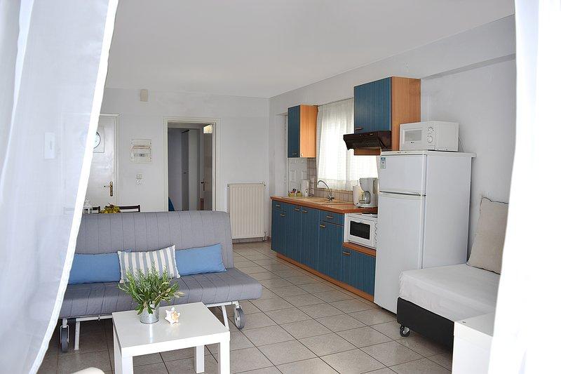 Salón-frente al mar apartamento de Nauplia-Kiveri