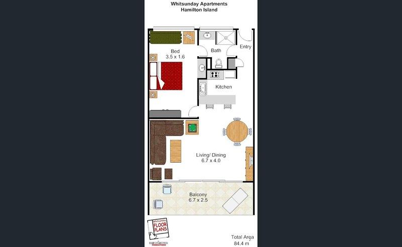 Apartment floorplan – apartment size totals 84sqm.