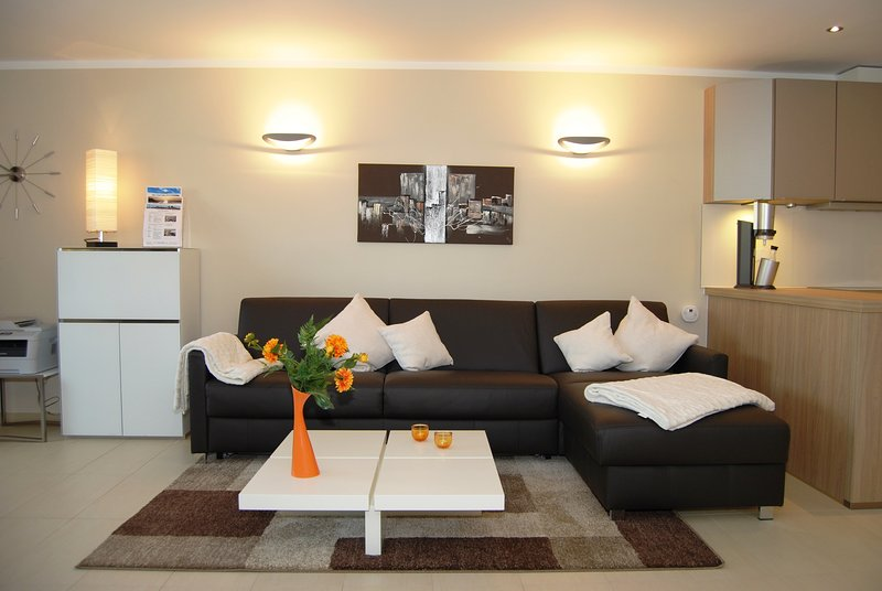 Living with integrated double bed in the leather sofa