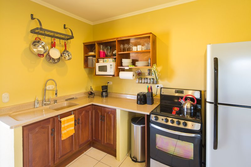 Fully equipped kitchen including  coffee maker, taoster, blender, pots, pans. All new appliances