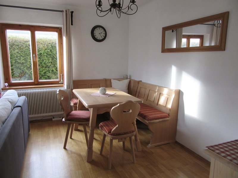 Traditional Austrian corner bench seat, table and chairs