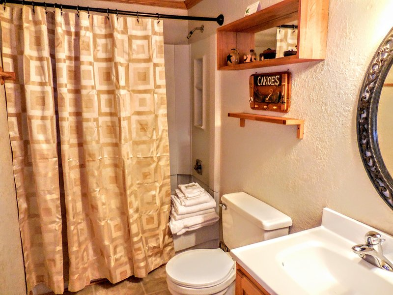 Enlarged bathroom with shower and tub. Linens provided!