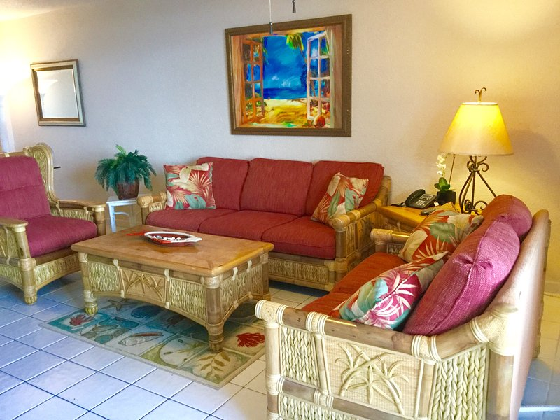 Premium tropical décor throughout the condo. Aerobed can be set up in living room for 2 more guests