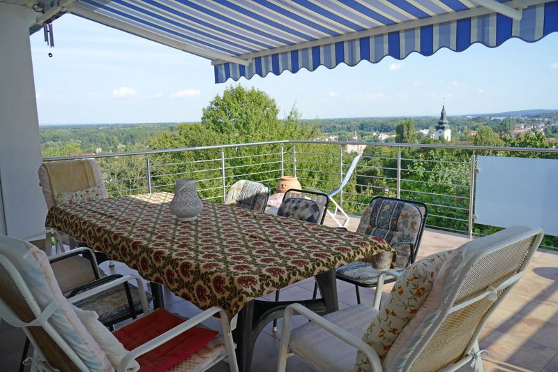 Balcony 5x6m. View to the town, and Hungarian and Croatian border in the distance