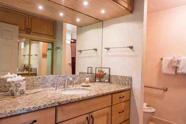 Granite counter tops and plenty of storage space.