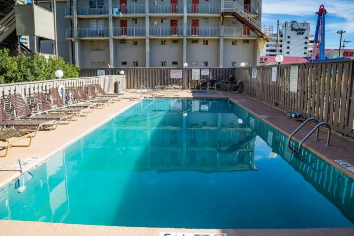 The pool is on the sunny side in the afternoon at Garden City Guest House.