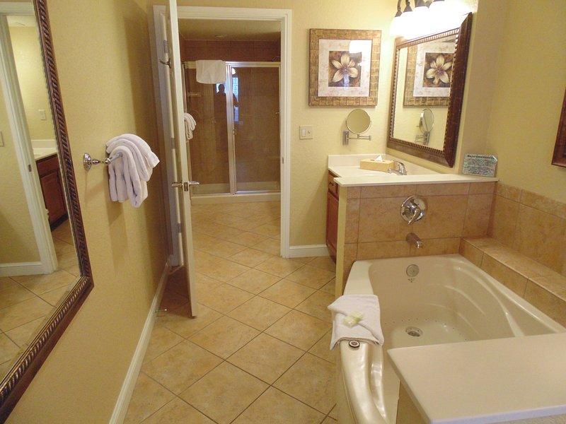 Baño principal con bañera de hidromasaje.