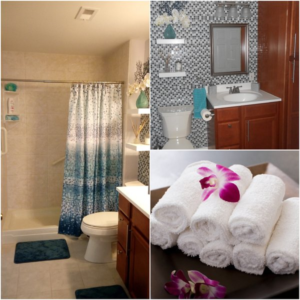 Fully equipped bathroom: towels, hair dryer, etc.
