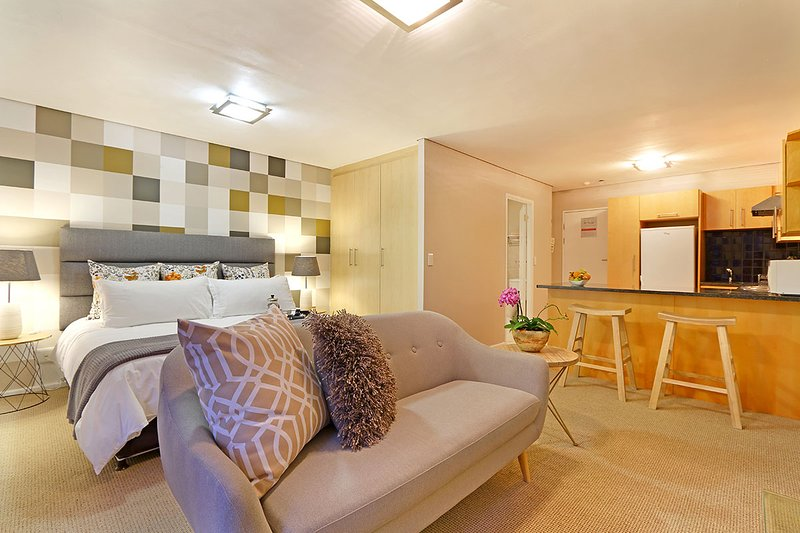 Fountains Fever studio has open plan bedroom, living room and kitchen