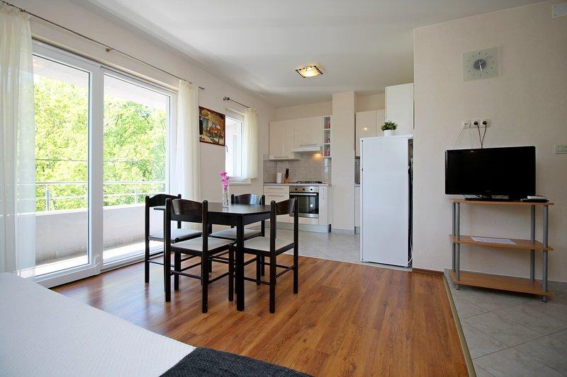 Cuisine et salle de séjour dans AP2 avec balcon