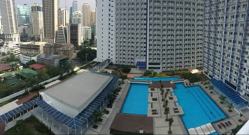 Overview of main swimming pools at amenities floor