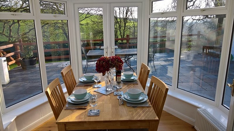 Dinning area in heated conservatory