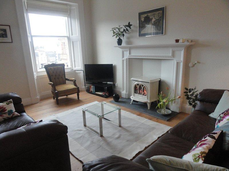 cómoda sala de estar con estufa de gas y TV