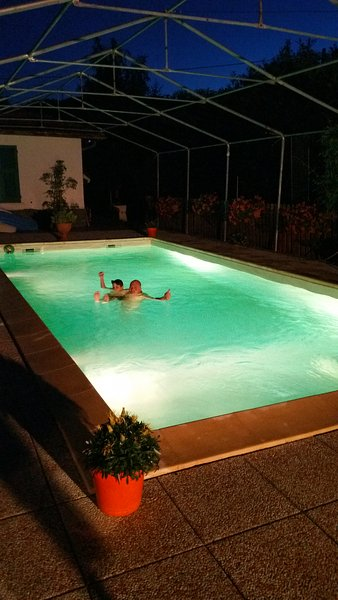 Heated pool and lighted