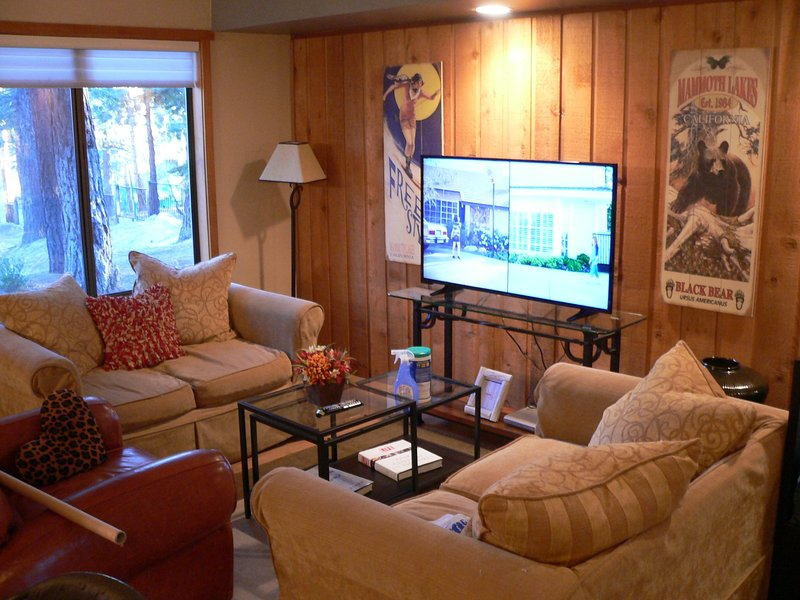 Relax in front of the large flat-screen tv in the living room ...