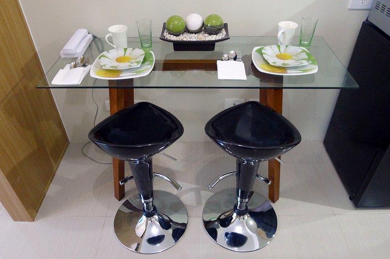 Breakfast table with kitchen essentials