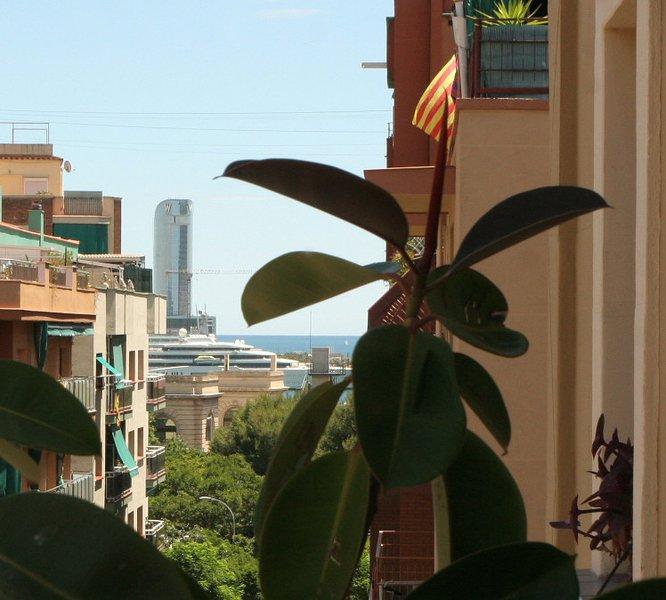 Balkon, uitzicht op de haven, Teleferico, W Barcelona Hotel