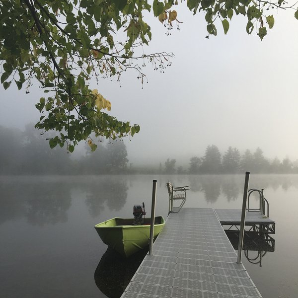 Our Dock and 8HP Row Boat,  Warm Water, lake is stocked, sit on the bench, relax.