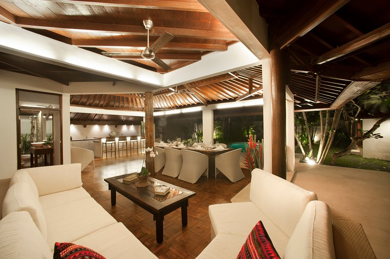 dining area and outdoor sofa lounge